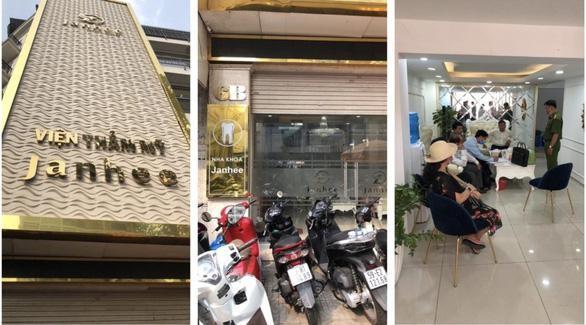 """""""Viện thẩm mỹ Janhee"""" và """"Nha khoa Janhee"""" ở cùng một địa chỉ cung cấp dịch vụ chăm sóc da và phẫu thuật thẩm mỹ không phép trên địa bàn quận 3 - Ảnh: Sở Y tế TP.HCM cung cấp"""