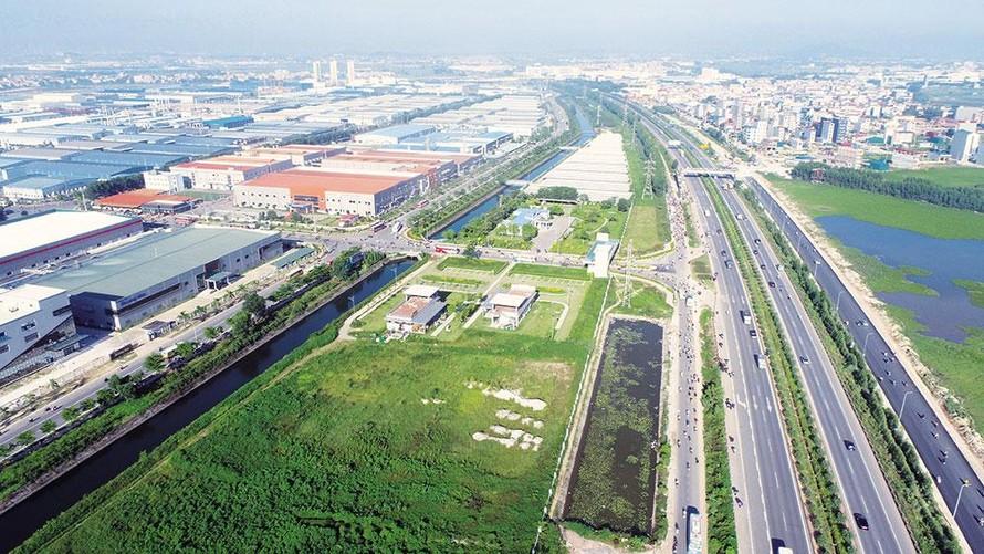 Các khu công nghiệp của tỉnh Bắc Giang nằm trên đường cao tốc Hà Nội - Bắc Giang. (Ảnh: Báo Bắc Giang)