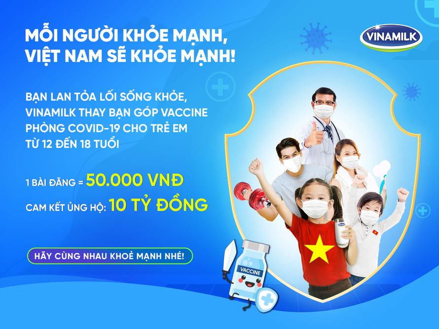 Vinamilk kêu gọi cộng đồng lan toả lối sống khoẻ, với mục tiêu đóng góp vaccine cho trẻ em