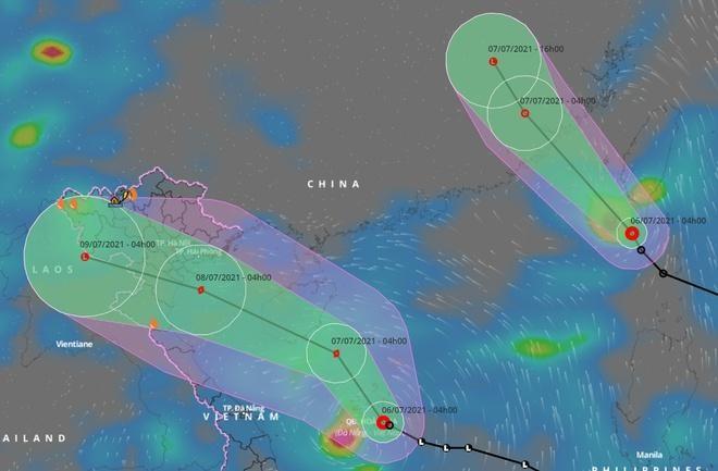 2 áp thấp nhiệt đới cùng hoạt động trên biển Đông. (Ảnh: VNDMS)