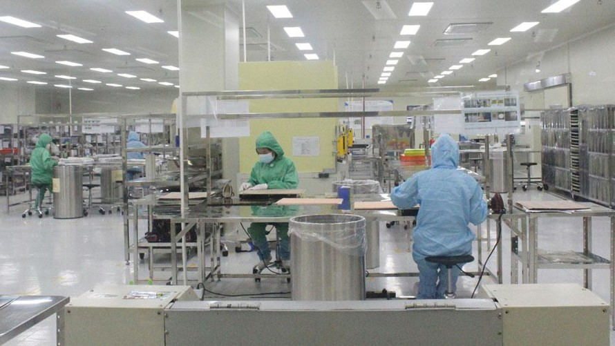 Công ty TNHH Siflex Việt Nam, KCN Quang Châu (huyện Việt Yên) hoạt động trở lại từ ngày 25/5. Ảnh: Báo Bắc Giang