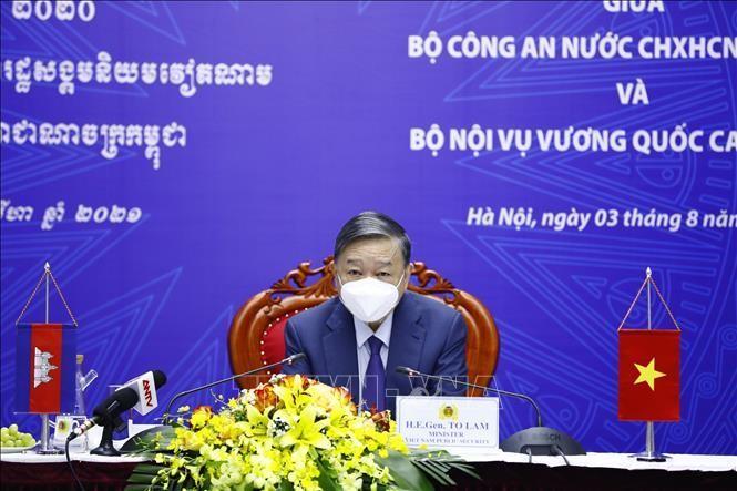 Đại tướng, Bộ trưởng Bộ Công an Tô Lâm đồng chủ trì hội đàm. Ảnh: Minh Đức/TTXVN