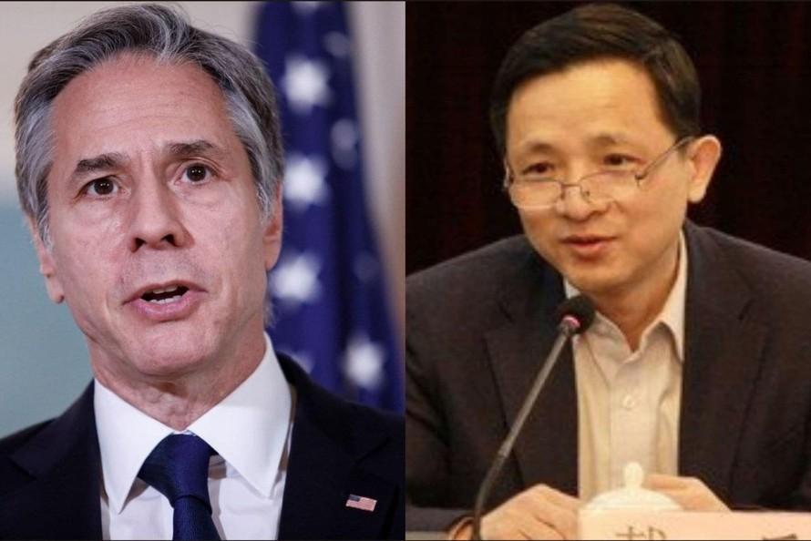 Ngoại trưởng Mỹ Antony Blinken và Phó đại sứ Trung Quốc tại Liên Hợp Quốc Đới Binh. Ảnh: Reuters, Twitter