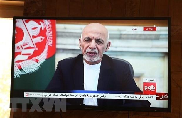 Tổng thống Afghanistan Ashraf Ghani phát biểu trên truyền hình tại Kabul, ngày 14/8/2021. (Ảnh: THX/TTXVN)