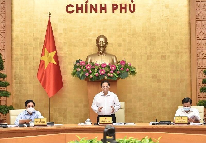Thủ tướng Phạm Minh Chính chủ trì phiên họp Chính phủ thường kỳ tháng 8 năm 2021. (Ảnh: Kinh tế & Đô thị)