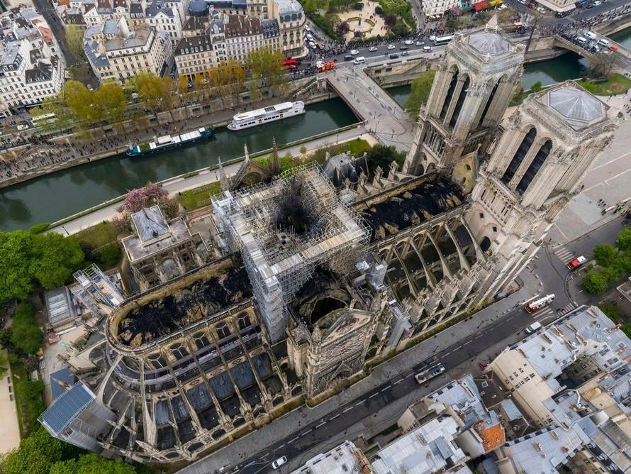 Nhà thờ Đức Bà Paris sau vụ cháy. (Ảnh: UNESCO)