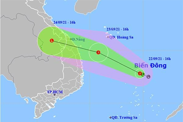 Dự báo hướng đi của áp thấp nhiệt đới. Ảnh: NCHMF