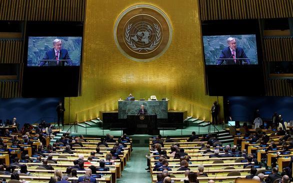 Tổng thư ký LHQ Antonio Guterres phát biểu khai mạc phiên thảo luận chung cấp cao của Đại hội đồng Liên Hiệp Quốc khóa 76 ngày 21-9. (Ảnh: Reuters)