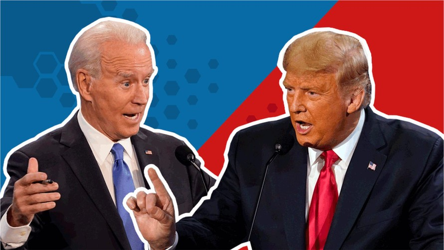 Tổng thống Mỹ Joe Biden và người tiền nhiệm Donald Trump. (Ảnh: BBC)