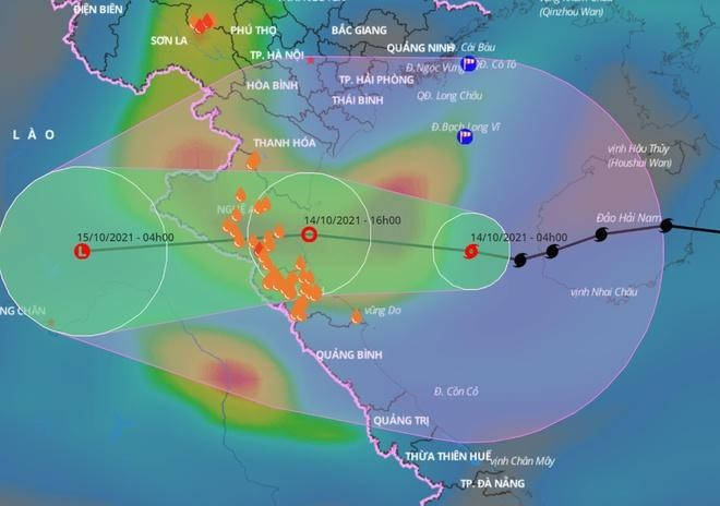 Dự báo đường đi của bão số 8 trong những giờ tới. Ảnh: VNDMS.
