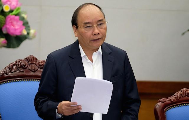 Thủ tướng Nguyễn Xuân Phúc phát biểu tại phiên họp Chính phủ thường kỳ tháng 11. - Ảnh: VGP/Quang Hiếu