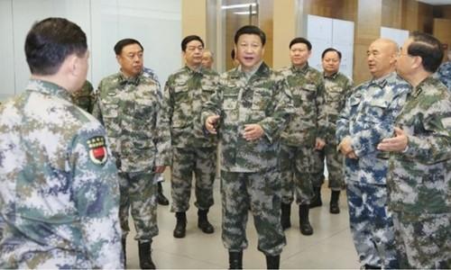 Chủ tịch Trung Quốc Tập Cận Bình thăm Trung tâm Chỉ huy Tác chiến Hỗn hợp năm 2016. Ảnh:news.china.com.