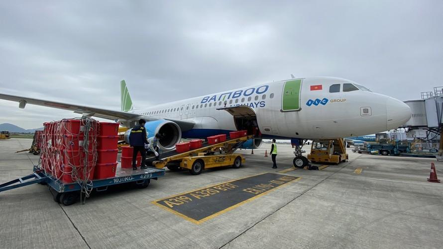 6 tấn hàng hóa cứu trợ miền Trung của TW Hội chữ Thập đỏ Việt Nam đã được Bamboo Airways khẩn trương đưa lên máy bay tại Nội Bài, vận chuyển trên chuyến charter cứu trợ tới Quảng Bình