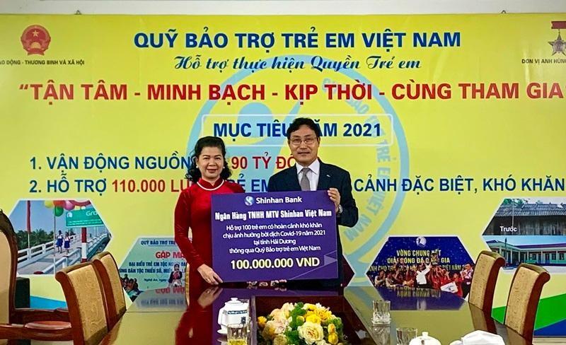 Ngân hàng Shinhan hỗ trợ trẻ em chịu ảnh hưởng của dịch Covid-19 tại tỉnh Hải Dương