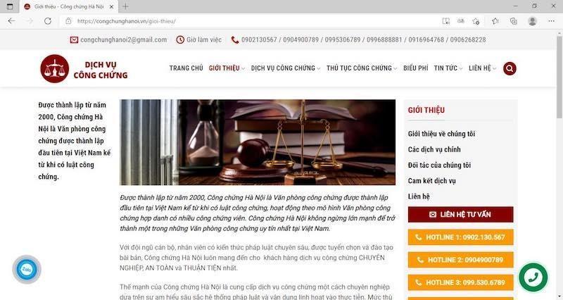 Trang web giới thiệu nghi vấn giả mạoVăn phòng công chứng Hà Nội.