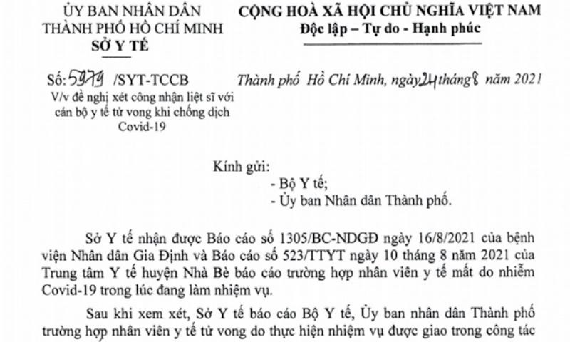 Đề nghị xét công nhận liệt sĩ 2 nhân viên y tế tử vong khi chống COVID-19