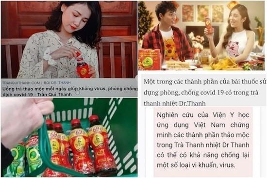 Những hình ảnh quảng cáo trà thảo mộc Dr Thanh có tác dụng trong việc phòng ngừa Covid-19