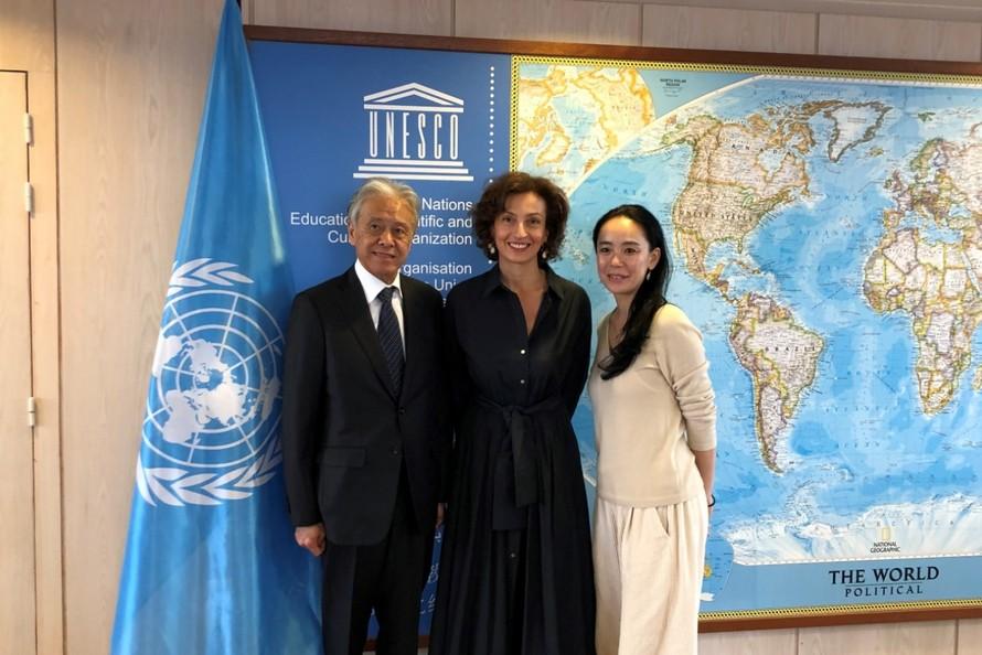 Buổi gặp gỡ giữa Tổng Giám đốc UNESCO và 2 đối tác Nhật Bản.