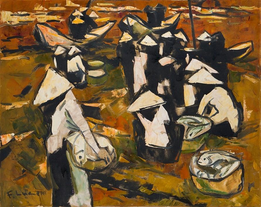 Bức tranh Chợ cá của Phạm Lực