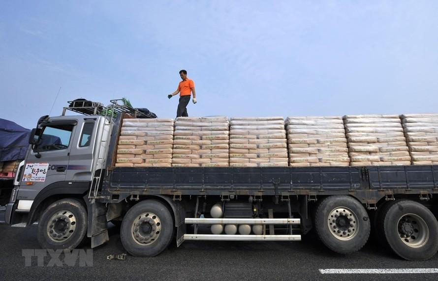 Xe chở lương thực viện trợ của Hàn Quốc tới Triều Tiên tại khu vực cửa khẩu ở Paju, phía bắc thủ đô Seoul, Hàn Quốc, ngày 26/7/2011. (Ảnh: AFP)