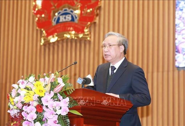 Ông Trần Quốc Vượng, Ủy viên Bộ Chính trị, Thường trực Ban Bí thư phát biểu chỉ đạo Hội nghị. Ảnh: Doãn Tấn - TTXVN