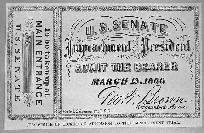 Một tấm vé được Thượng viện Mỹ bán ra cho người muốn theo dõi phiên luận tội Tổng thống Andrew Johnson. Ảnh: AP.