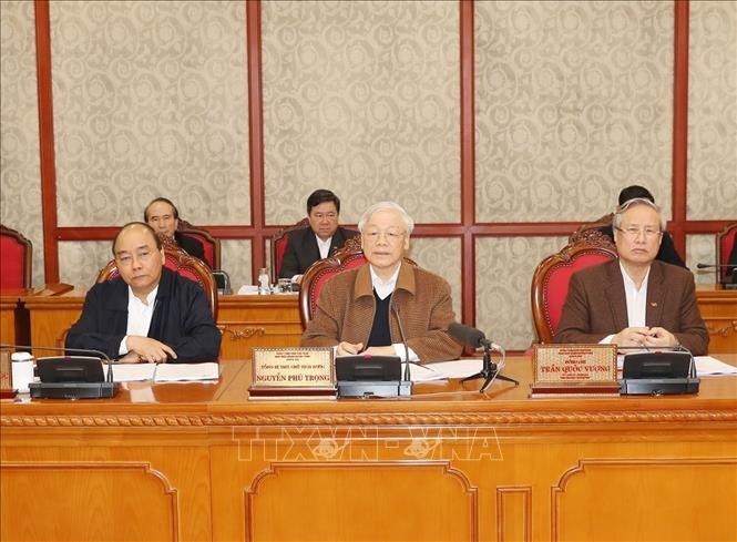 Tổng Bí thư, Chủ tịch nước Nguyễn Phú Trọng phát biểu kết luận cuộc họp. Ảnh: Trí Dũng – TTXVN