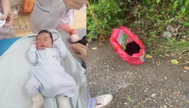 Bé trai bị bỏ rơi cạnh tường rào trạm y tế xã. (Ảnh: Nguyễn Tuấn)