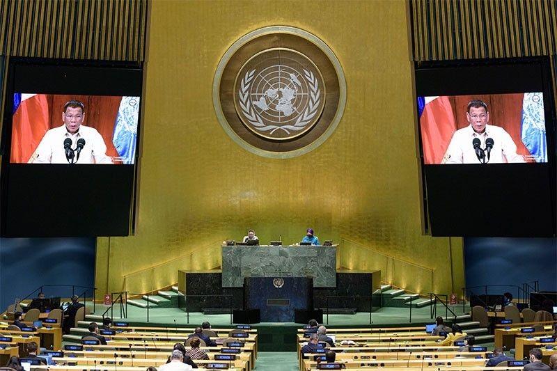 Tổng thống Philippines phát biểu trực tuyến tại kỳ họp khóa 75 ĐHĐ LHQ hôm 22/9. Ảnh: AFP/TTXVN