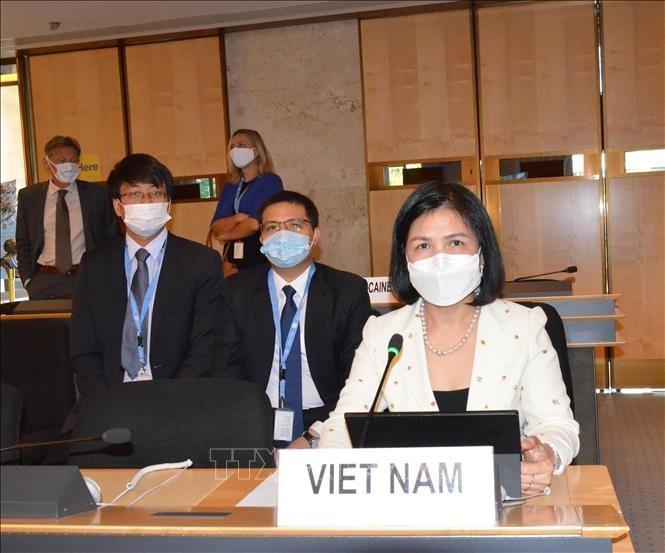 Đại sứ Lê Thị Tuyết Mai, Trưởng Phái đoàn thường trực Việt Nam bên cạnh LHQ, Tổ chức Thương mại Thế giới (WTO) và các tổ chức quốc tế khác tại Geneva. Ảnh: Tố Uyên/PV TTXVN tại Geneva
