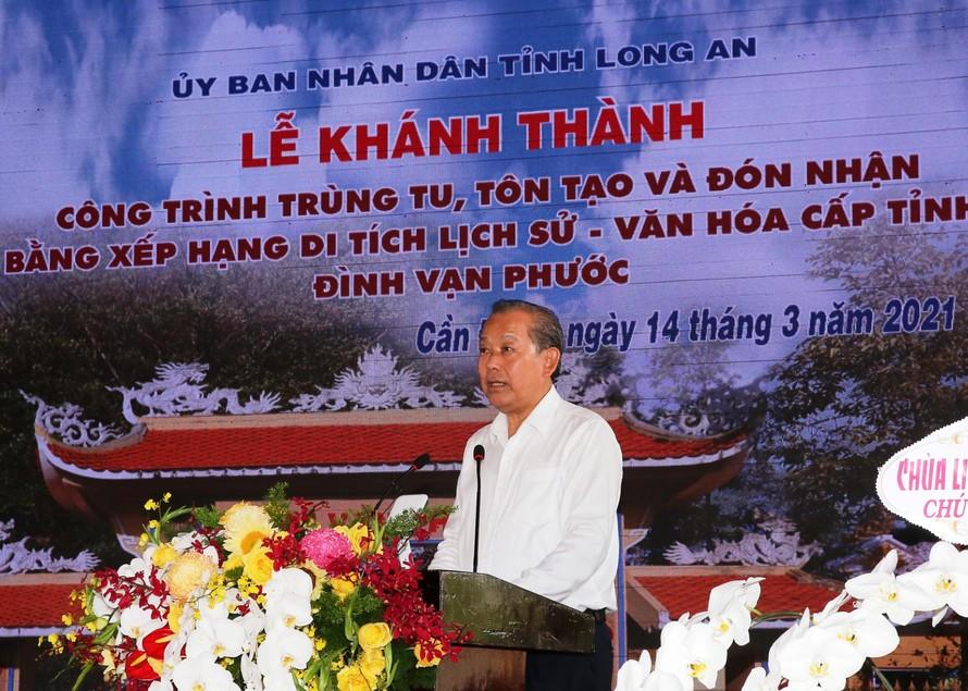 Phó Thủ tướng Thường trực Chính phủ Trương Hòa Bình phát biểu tại buổi lễ. Ảnh: VGP/Mạnh Hùng