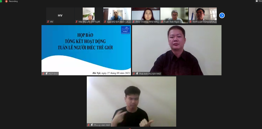 Buổi họp báo tổng kết hoạt động hưởng ứng sự kiện Tuần lễ người điếc thế giới và Ngày Quốc tế Ngôn ngữ kí hiệu của Chi hội Người Điếc Hà Nội được tổ chức trực tuyến.