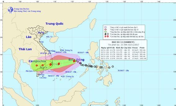 Đường đi của cơn bão số 12. Ảnh:TTKTTVTW
