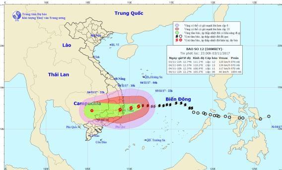 Hoàn lưu bão số 12 gây mưa lũ cho khu vực Nam Trung Bộ