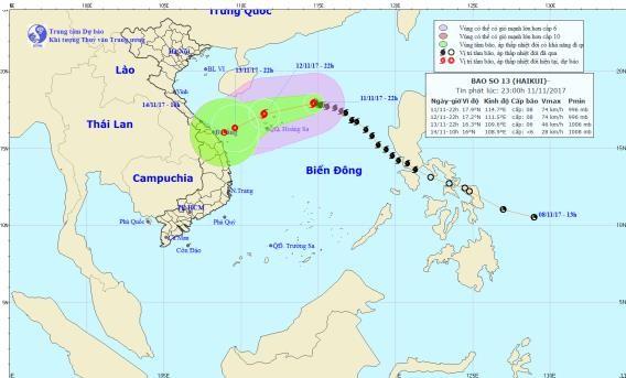 Hình ảnh đường đi của bão số 13. Ảnh:TTKTTVTW