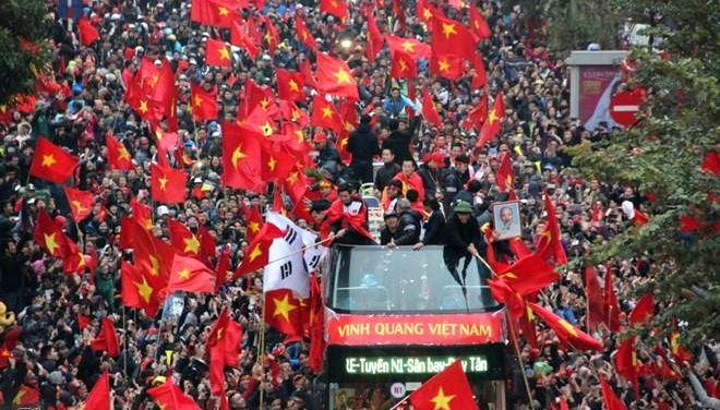 Lễ diễu hành của U23 Việt Nam. Ảnh: Vietnamnet