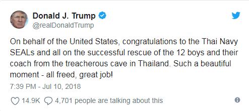 Nguyên thủ quốc gia và giới bóng đá chúc mừng chiến dịch giải cứu đội bóng Thái Lan