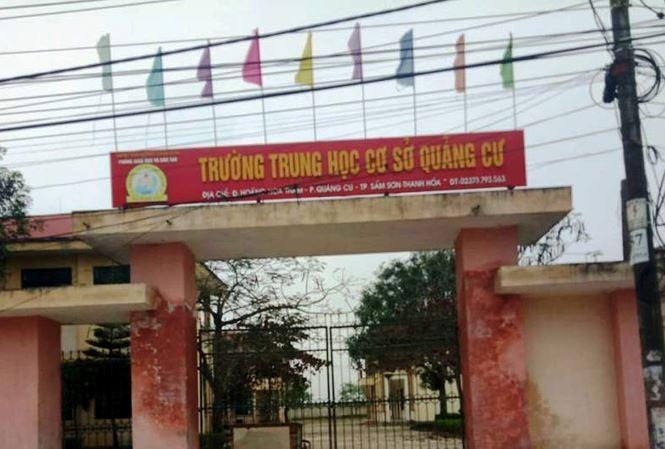 Trường THCS Quảng Cư - nơi xảy ra sự việc. Ảnh: Tiền Phong