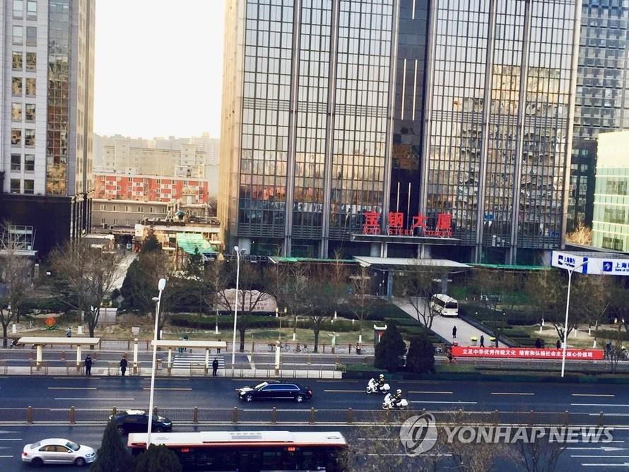 Chiếc xe được cho là hộ tống Chủ tịch Kim Jong-un trong chuyến thăm Trung Quốc. Ảnh: Yonhap