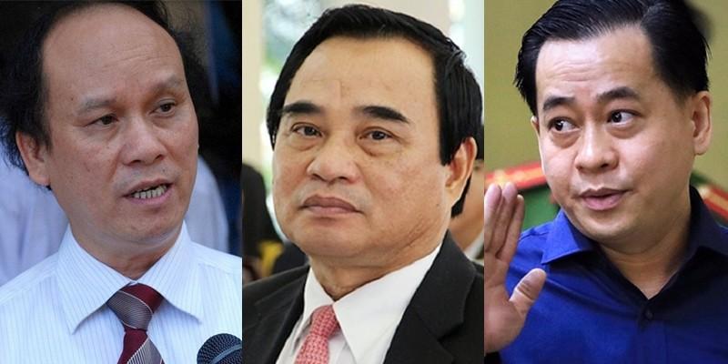 Các bị cáo Trần Văn Minh (trái), Văn Hữu Chiến (giữa) và Phan Văn Anh Vũ (phải).