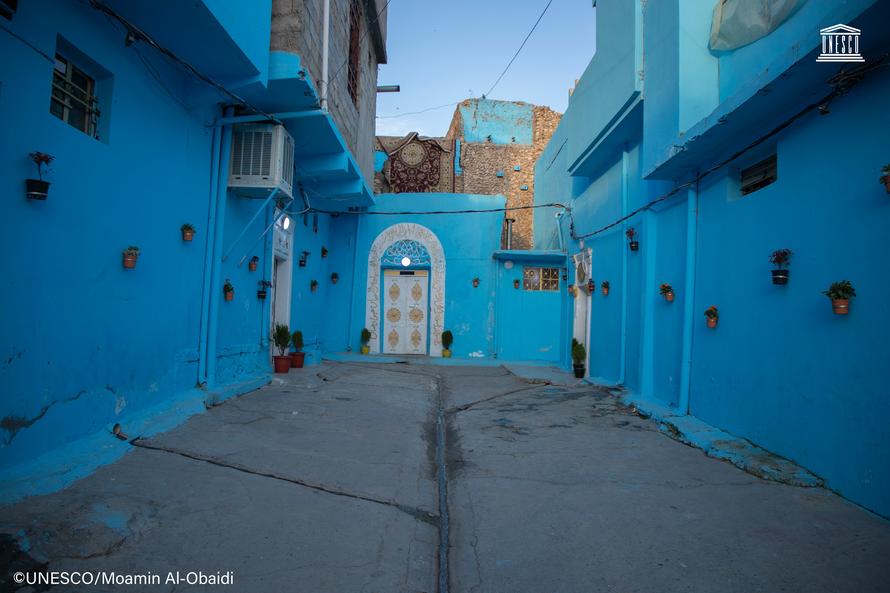 Khu phố cổ Mosul lột xác trong màu xanh