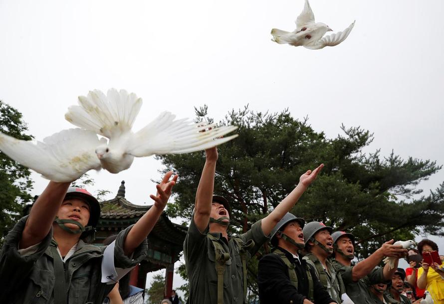 Chim bồ câu được thả ra trong một buổi lễ kỷ niệm 70 năm Chiến tranh Triều Tiên, gần khu phi quân sự ngăn cách hai miền Triều Tiên, tại Cheorwon, Hàn Quốc. Ảnh: Reuters