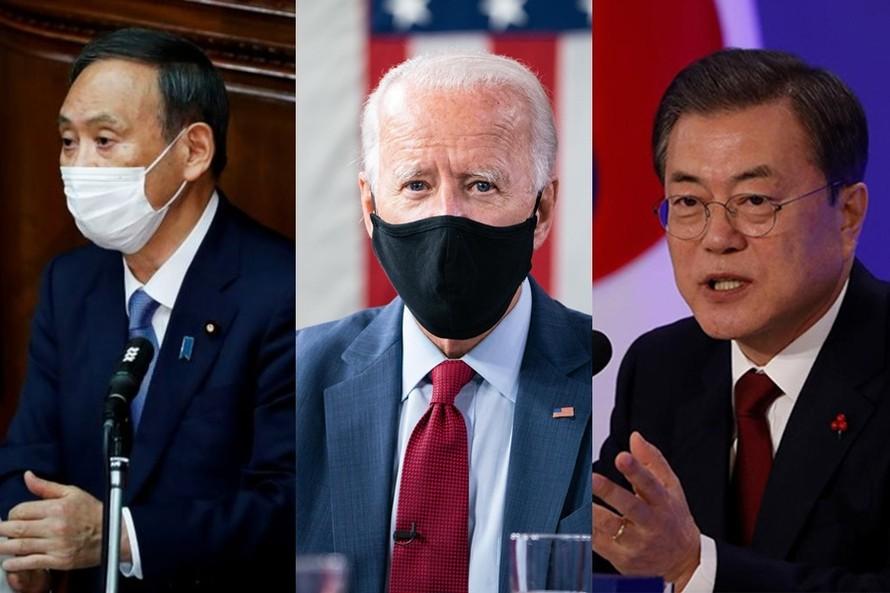 Lãnh đạo Hàn, Nhật điện đàm với ông Joe Biden