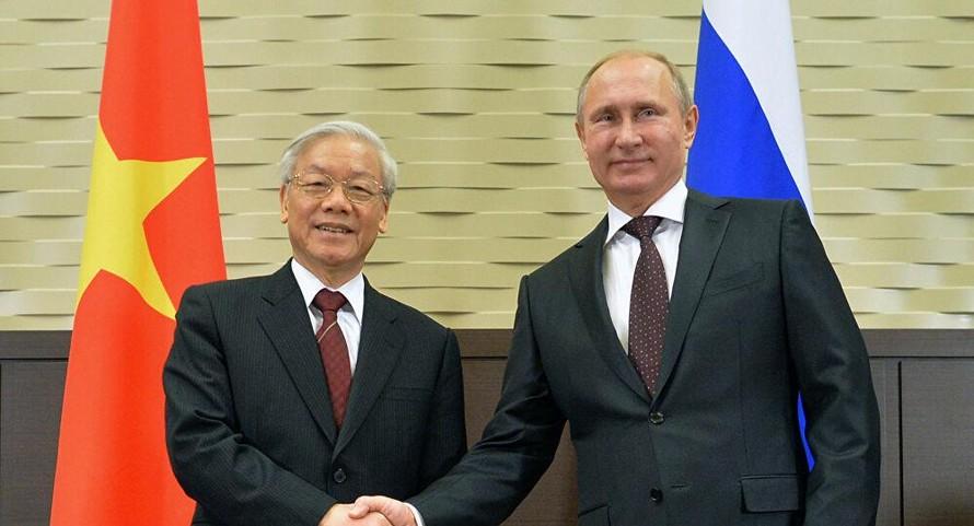 Tổng Bí thư Nguyễn Phú Trọng và Tổng thống Liên bang Nga V.Putin. Ảnh: Sputnik