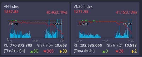 Thị trường tụt mạnh, VN30 không mã nào tăng giá