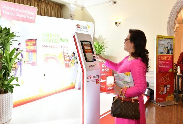 Khu photobooth trải nghiệm dịch vụ Digital Bank tại Đại hội.
