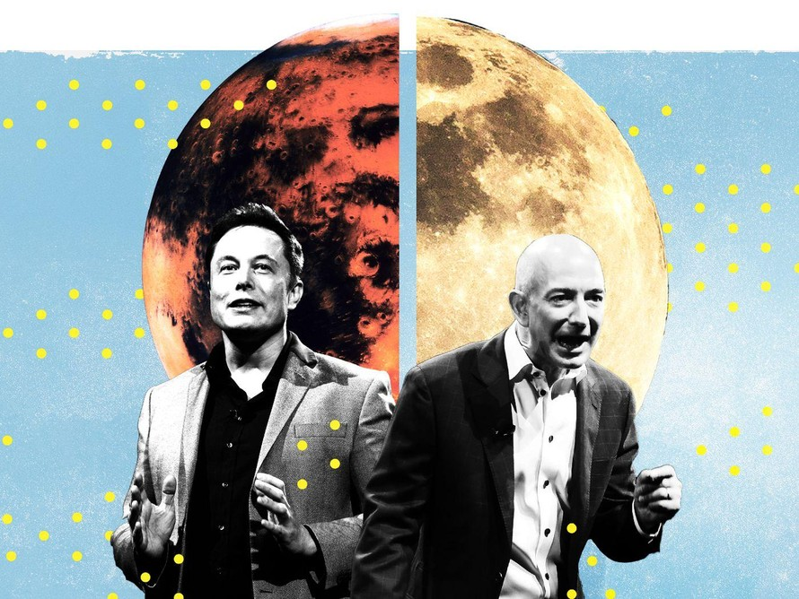 Mặt trăng - chiến trường giữa Elon Musk và Jeff Bezos