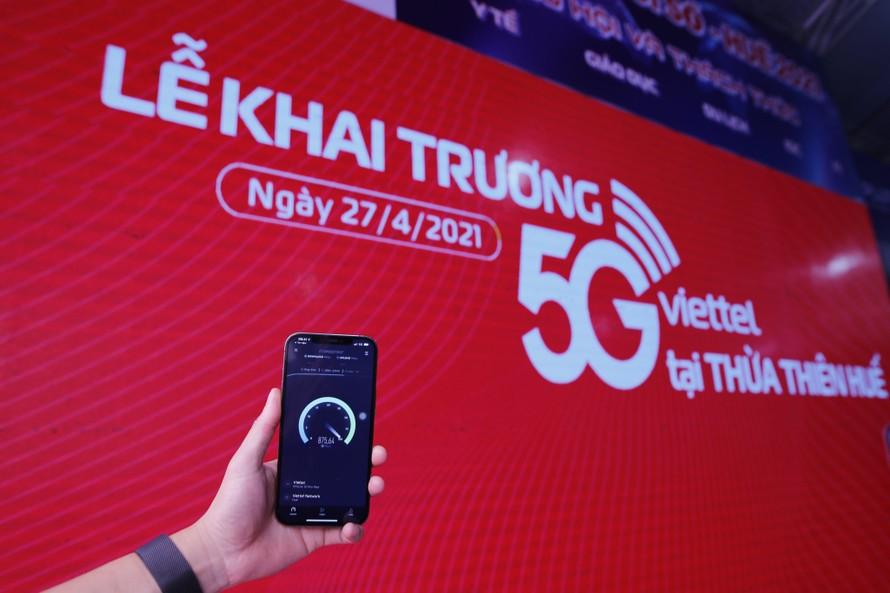 Tốc độ mạng 5G Viettel đo được tại Huế luôn ở mức ổn định từ 900 Mbps đến trên 1Gbps.