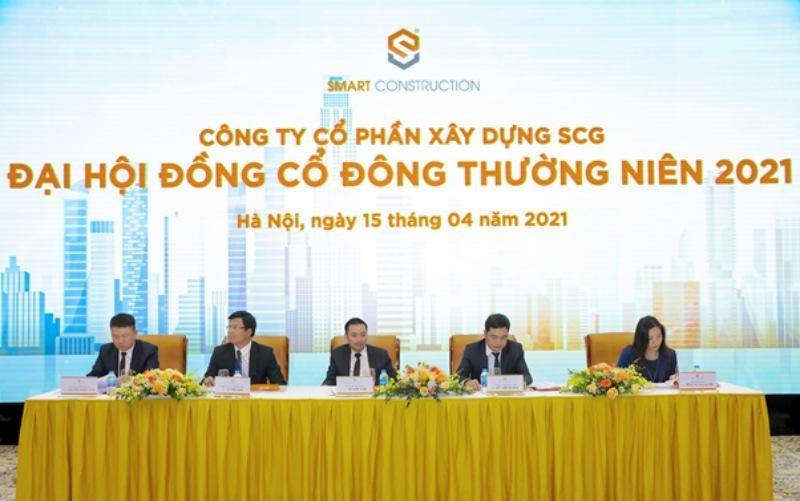 Toàn cảnh Đại hội đồng cổ đông thường niên 2021 của Công ty cổ phần Xây dựng SCG.
