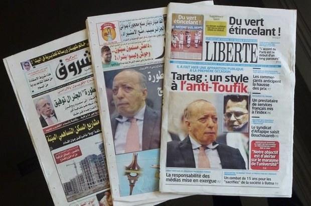 Ông Athmane Tartag trên các mặt báo của Algeria. Ảnh: AFP
